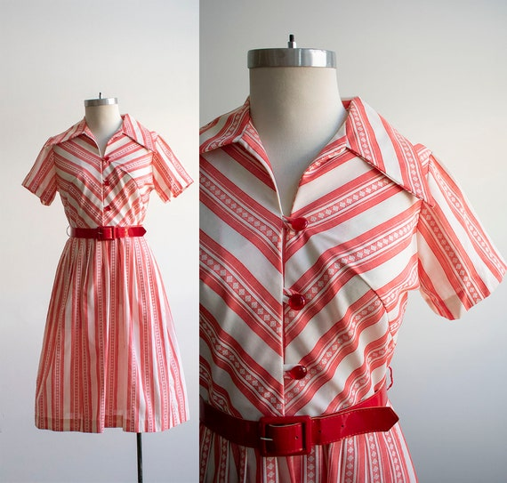 Vintage 1950s Shirt Dress / 1950s Red and White St