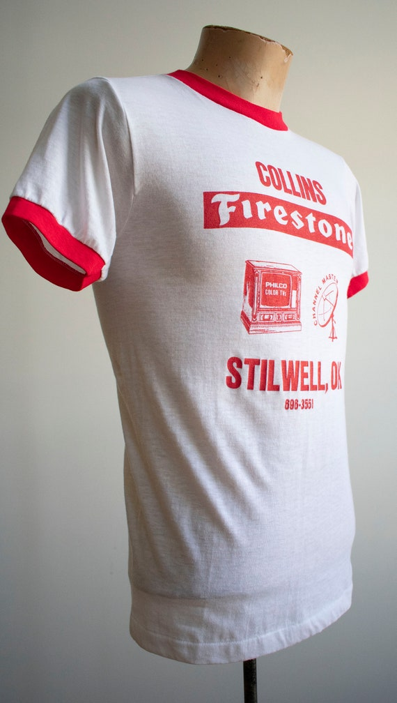 Vintage 1970s Ringer Tshirt / Vintage Red and whi… - image 6