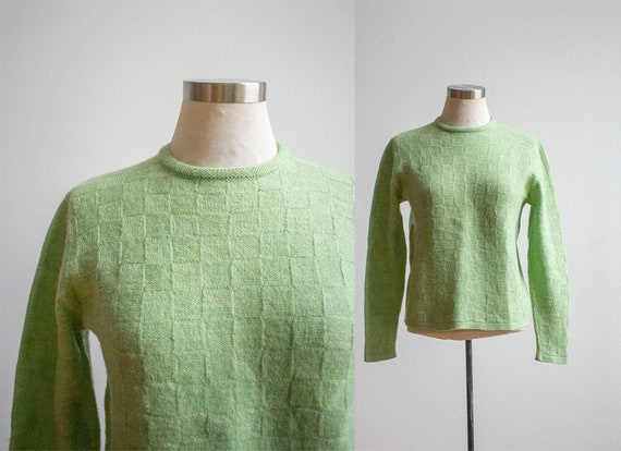 Vintage 1960s Knit Sweater / Green Knit Sweater /