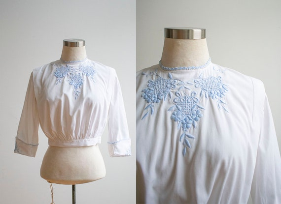 Vintage Edwardian Blouse / White Cotton Embroidere