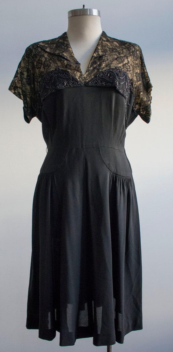 Vintage 1940s Black Cocktail Dress / Black Lace C… - image 2