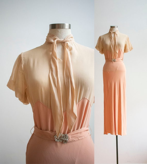 1930s Gown / Blush Pink Antique Gown / Long Formal