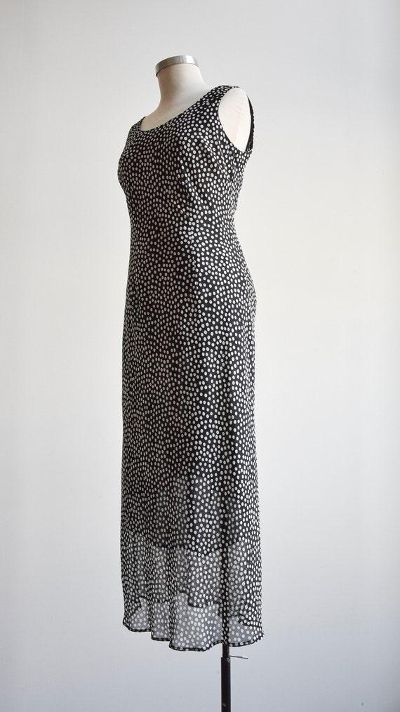 90s Black and White Polka Dot Maxi Dress - image 8