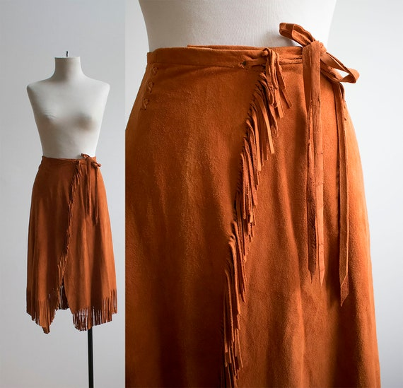 Vintage 1970s Suede Skirt / Char and Sher Suede Sk