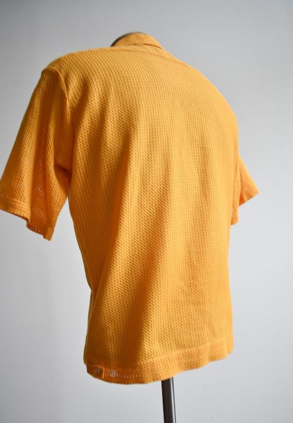 1960s Mesh Mustard Yellow Button Down Shirt - image 7