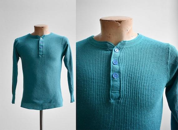 Vintage Teal Henley Thermal Shirt
