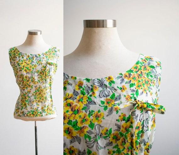 Vintage Linen Floral Blouse / 1930s Feed Sack Blou
