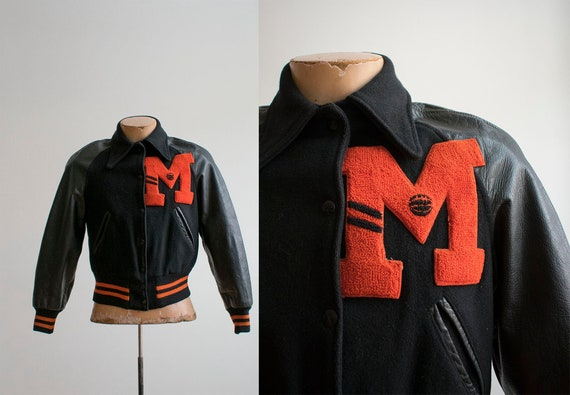 1960s Womens Wool Letterman Jacket / High School V