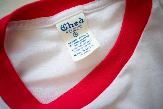 Vintage 1970s Ringer Tshirt / Vintage Red and whi… - image 10