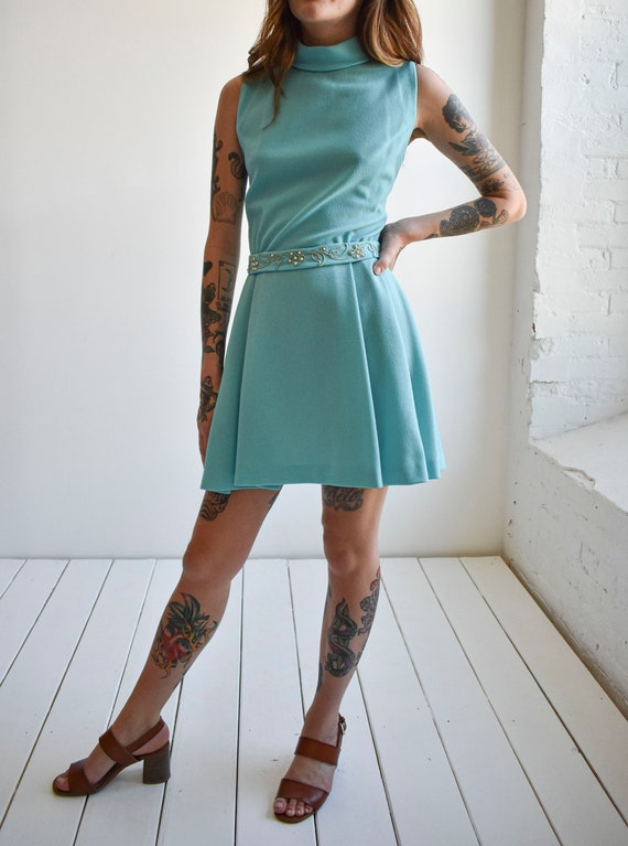 1970s Pale Blue Mini Dress - image 4