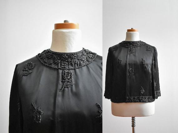 1950s Black Beaded Blouse