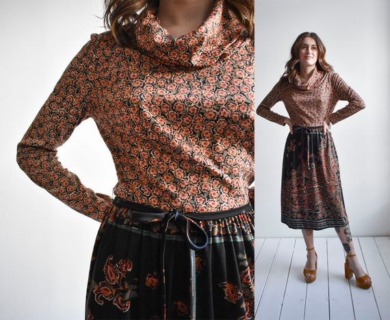 1970s Floral & Paisley Shirt Dress