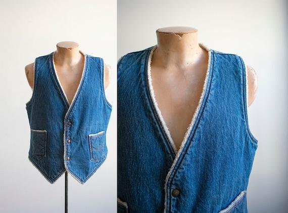 Vintage Denim Vest / Vintage 1970s Denim Vest / W… - image 1