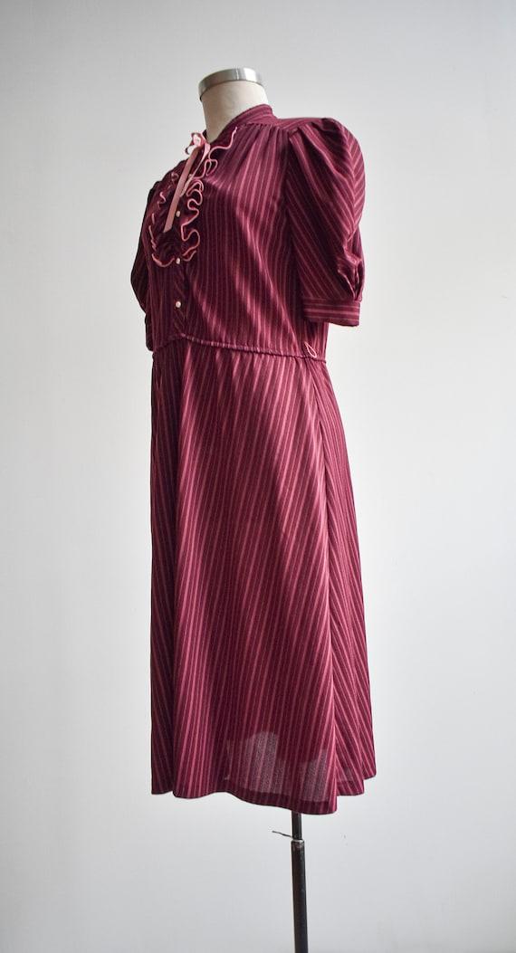 70s Maroon Striped Shirt Dress - image 5