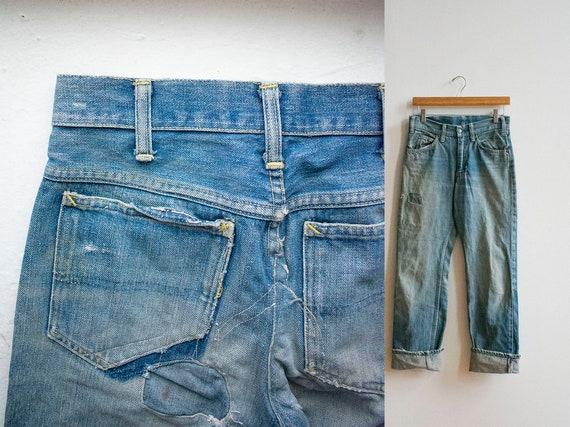 Vintage 1950s Jeans / Vintage Thrashed Denim Jeans