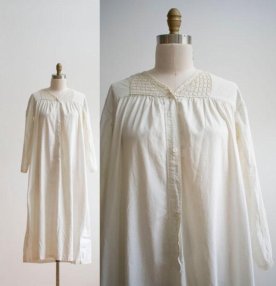 Vintage Edwardian Nightgown / White Cotton Nightgo