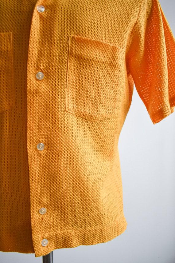 1960s Mesh Mustard Yellow Button Down Shirt - image 5