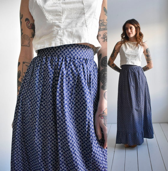 Long Vintage Cotton Calico Skirt