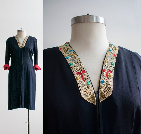 Vintage 1940s Cocktail Dress / Navy Blue Cocktail