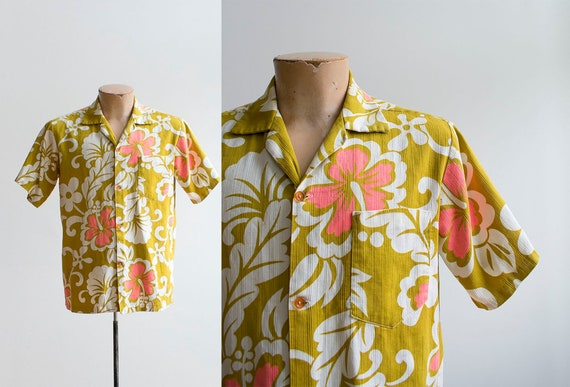 Vintage 1960s Hawaiian Shirt / Hawaiian Button Dow