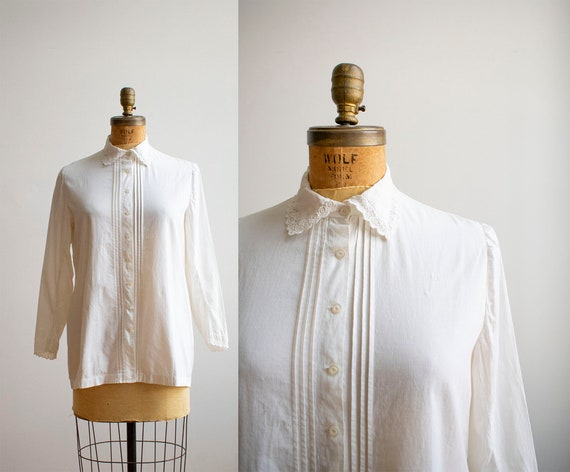 White Cotton Edwardian Blouse / Edwardian Lace Blo