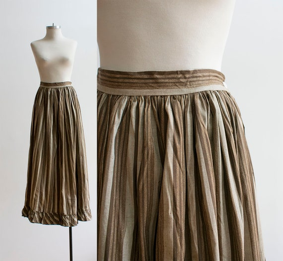 Antique Striped Skirt / Long Full Skirt / Victoria