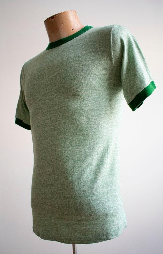 1970s Blank Ringer Tshirt / Vintage Green Ringer … - image 6