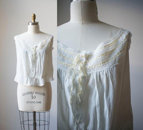 Victorian Corset Cover / White Cotton Crop Top / C