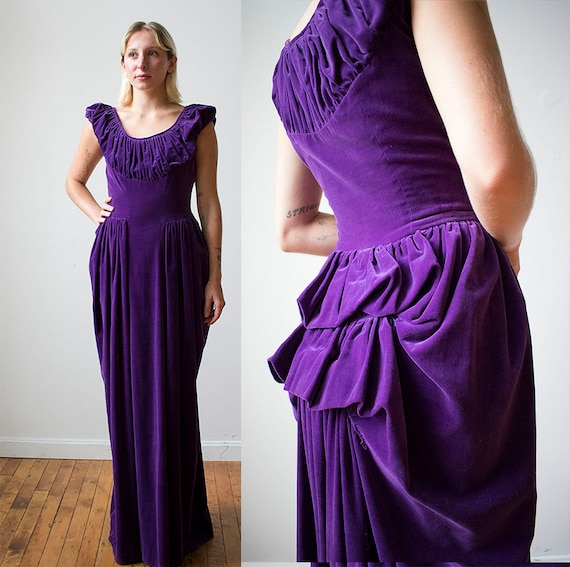 Vintage Purple Velvet Gown / 1940s Formal Gown / 1