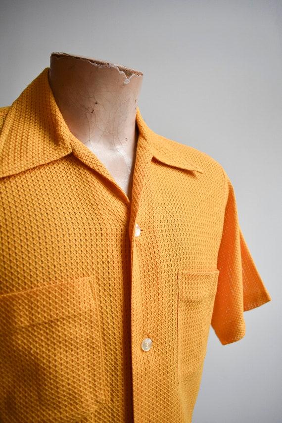 1960s Mesh Mustard Yellow Button Down Shirt - image 4