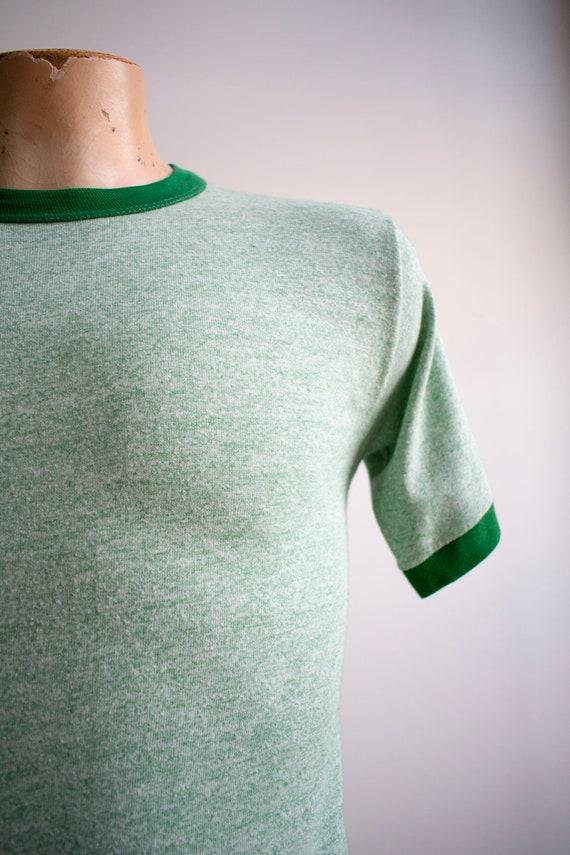 1970s Blank Ringer Tshirt / Vintage Green Ringer … - image 5