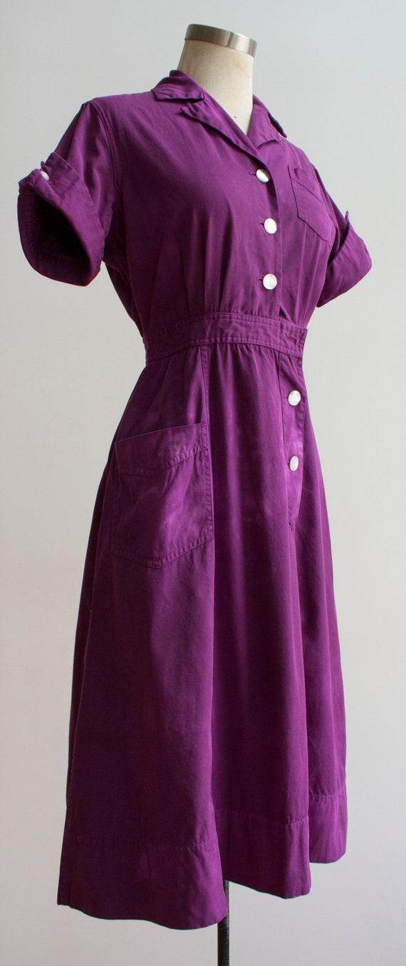1960s Uniform Dress / Hand Dyed Purple Dress / Pu… - image 4