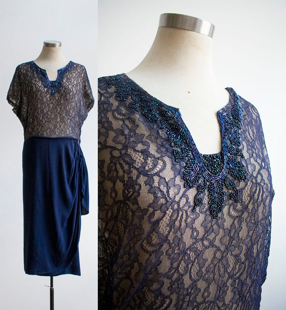 1930s Cocktail Dress / Lace Cocktail Dress / True