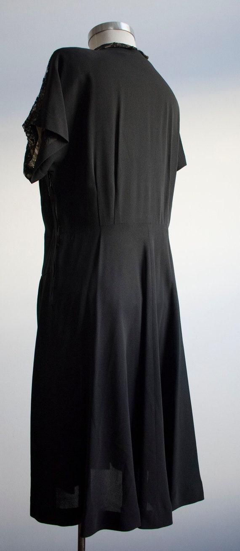 Vintage 1940s Black Cocktail Dress / Black Lace C… - image 7