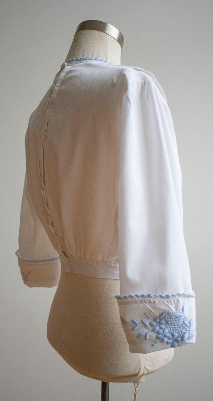 Vintage Edwardian Blouse / White Cotton Embroider… - image 5