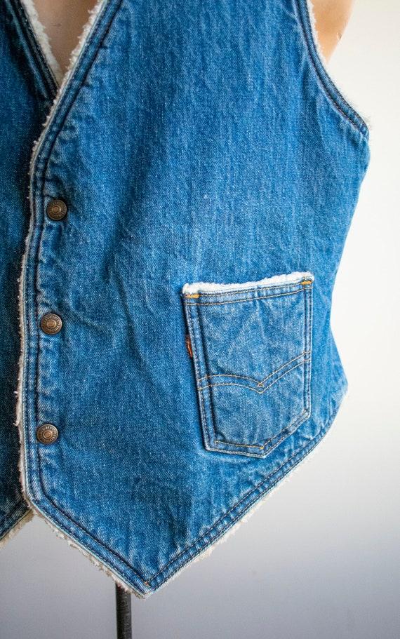 Vintage Denim Vest / Vintage 1970s Denim Vest / W… - image 3