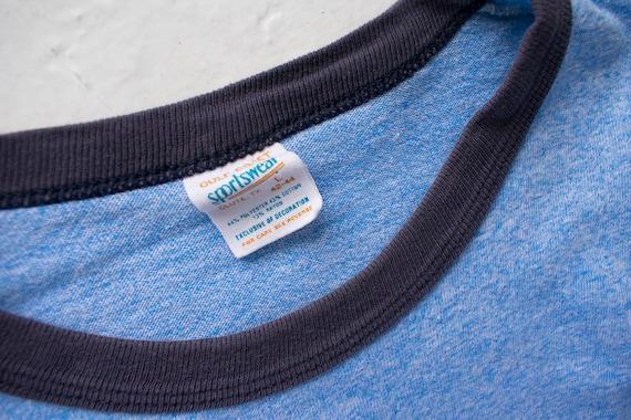Vintage Ringer Tee / 1980s Ringer Tshirt / Blue L… - image 8