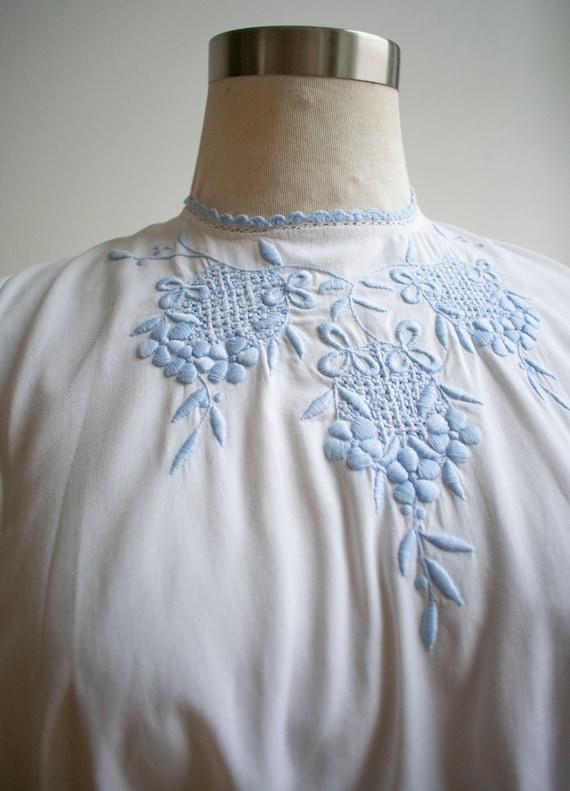 Vintage Edwardian Blouse / White Cotton Embroider… - image 3