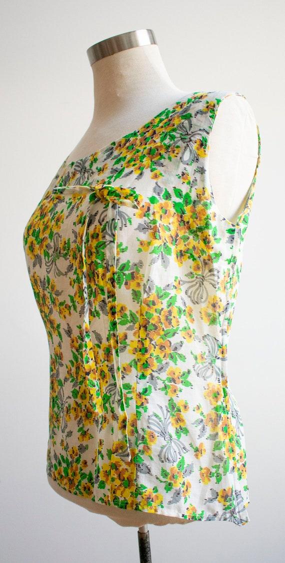 Vintage Linen Floral Blouse / 1930s Feed Sack Blo… - image 5