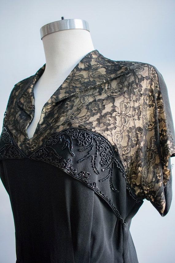 Vintage 1940s Black Cocktail Dress / Black Lace C… - image 3