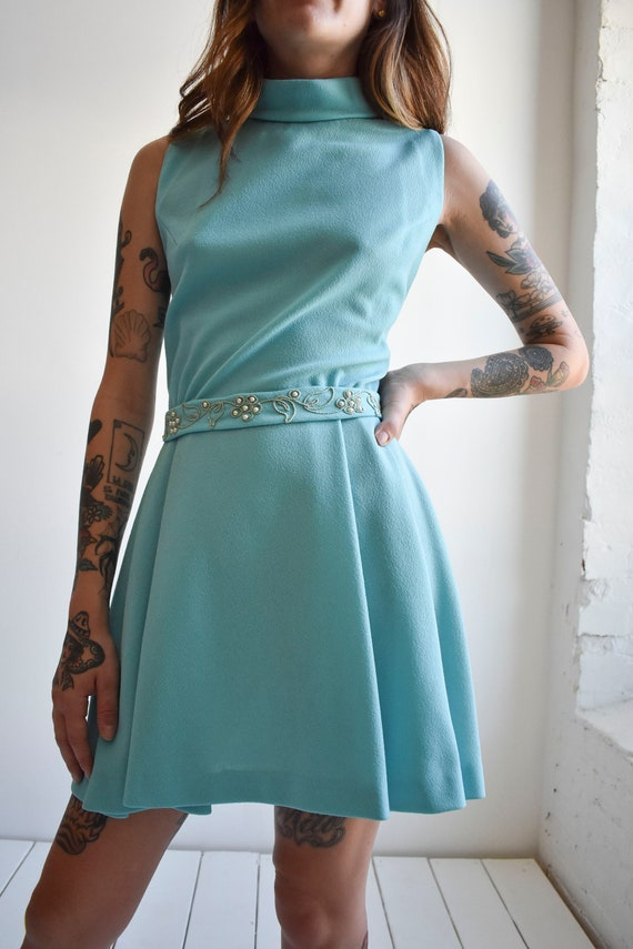 1970s Pale Blue Mini Dress - image 3