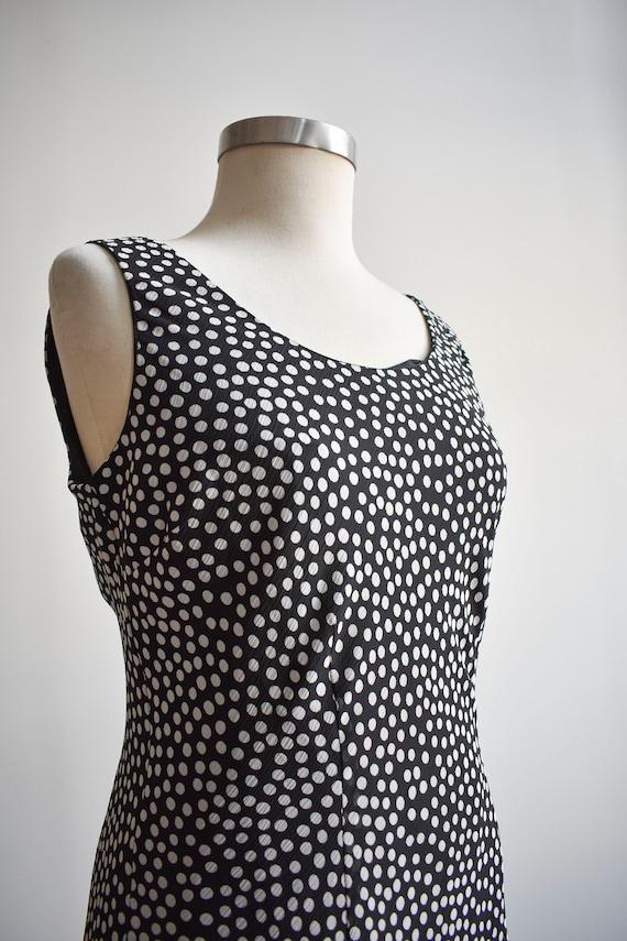 90s Black and White Polka Dot Maxi Dress - image 4