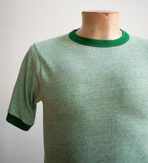 1970s Blank Ringer Tshirt / Vintage Green Ringer … - image 3