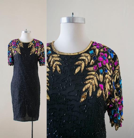 Vintage 1980s Cocktail Dress / Sequin Cocktail Dre