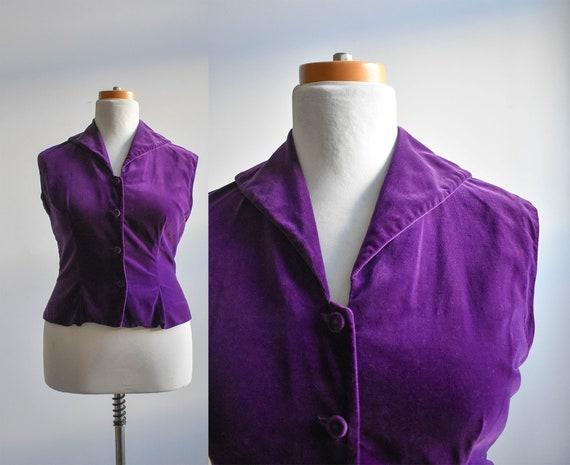 1960s Purple Velour Top