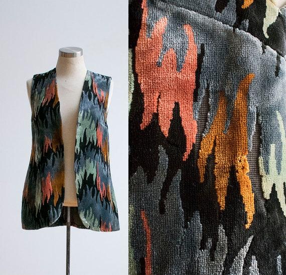 Vintage 1960s Velour Vest / 1960s Vest / Velvet Ve