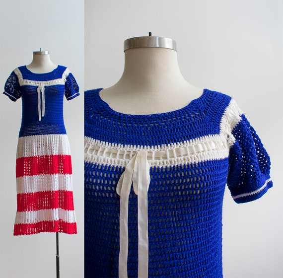 Vintage 1970s Crochet Dress / Red White and Blue C