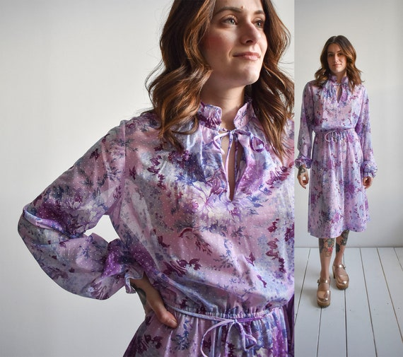 1970s Purple Floral Shirt Dress