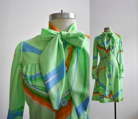 70s Neon Green  Skater Dress