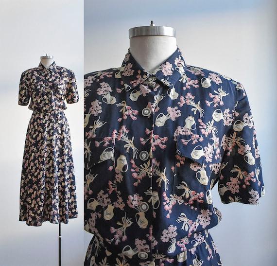 1940s Style Rayon Shirt Dress